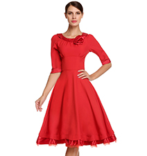 Fit and Flare Vintage Dress – Red / Rounded Neckline
