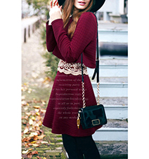 Maroon Colored Dress – Rounded Neckline / Long Sleeves