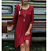 Elliptical Swing Dress – Red / Three Quarter Length Sleeves