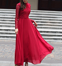 Long Sleeved Maxi Dresses – Lace Sleeves / Cardinal Red