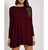 WMNS Mini Dress – Round Neckline / Burgundy