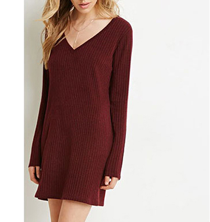 Womens Mini Dress – Maroon / Vee Neckline