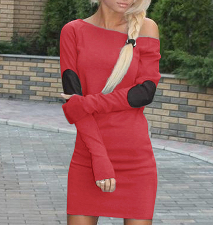 One Shoulder Red Dress – Extra Long Raglan Sleeves / Retro Elbow Patches / Slim Fit