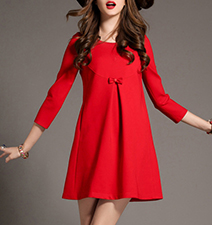 Bright Red Dress – Curved Collar / Tiny Bow Detail / Bracelet Length Sleeves
