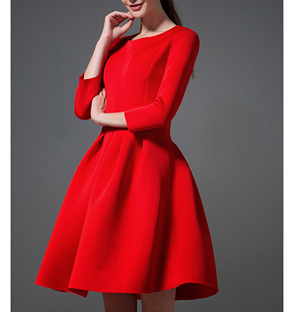 Fit and Flare Dress – Red / Long Sleeves