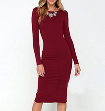 Bodycon Midi Dress – Backless / Red