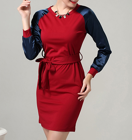 Knee Length Dress – Red with Blue / Matching Tie Belt