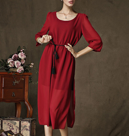 Caftan Style Midi Dress – Red / Belt