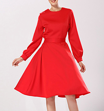 Retro-Look Midi Dress – Red / Full Skirt / Fit and Flare
