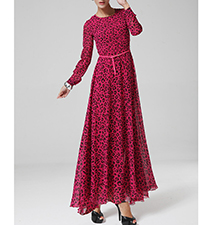 Formal Gown – Red Leopard Print / Long Fitted Sleeves