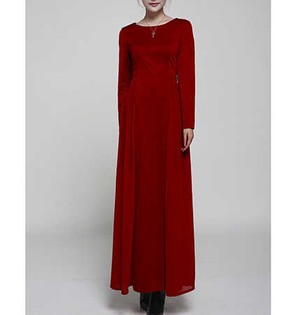 Long Sleeve Maxi Chiffon Dress – Currant Red / Long Sleeves