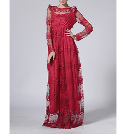 Formal Evening Dress – Cranberry Red / Lace Embellished Chiffon