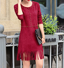 Red Fringe Dress – Stud Detailing / Three Quarter Length Sleeves