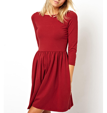 Red Pleated Swing Dress – Three Quarter Length Sleeves / Full Pleated Skirt