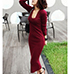 WMNS Maroon Long Dress – Knit / Long Sleeved