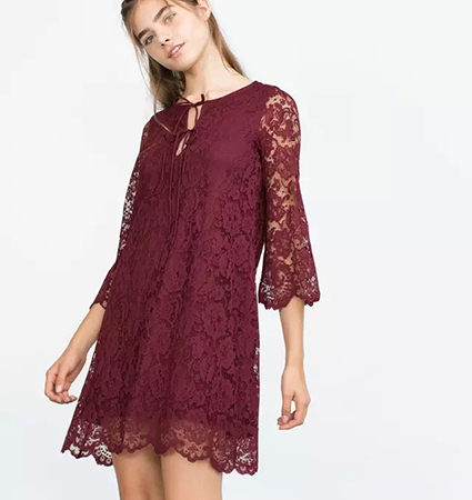 Red Lace Dress – Long Trumpet Sleeves / Round Neckline / Keyhole Opening