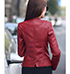 Womens Leather Jacket – Red / Zipped Pockets / Decorative Leatherwork
