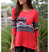 Womens Casual T-Shirt – Graphic Print / Three Quarter Length Sleeves
