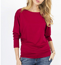 Womens Red Cotton Knit Top – Long Sleeves