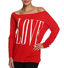 Womens Cold Shoulder Shirt – Red / Love Logo