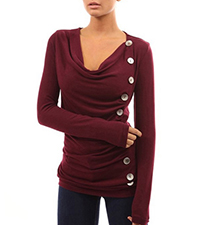 Womens Cowl Neck Sweater – Vertical Button Accents / Long Sleeves / Folded Front