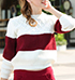 Womens Striped Pullover Sweater – Burgundy and White / Crew Neckline