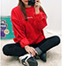 Womens Racy Red Sweatshirt – Embroidered Motif On The Breast