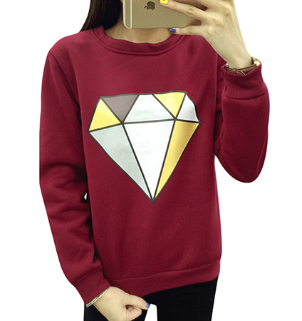 Womens Diamond-Themed Sweatshirt – Red / Large Diamond Logo