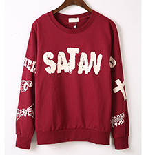 Womens Sweatshirt – Red / Satan Logo