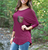 Womens Purple T-Shirt – Breast Pocket / Curved Hemline / Three Quarter Dolman Sleeves