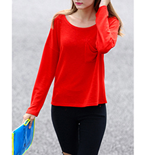 Womens Casual T-Shirt – Bright Red / Round Neckline