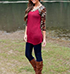 Womens Tunic Top – Red / Leopard Print Sleeves