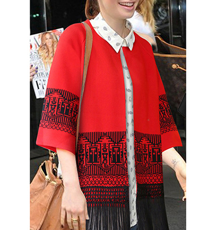 Womens Winter Wrap – Red / Fringed