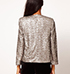 Womens Sparkly Blazer – Silver / Long Sleeves