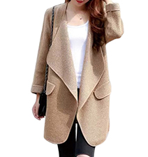 Womens Oversized Coat – Tan / Wide Lapels