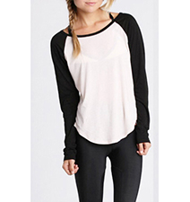 Womens Color Block Blouse – Black and White / Long Sleeves