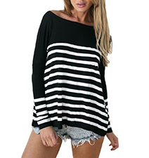 Womens Knit Blouse – Black and White / Long Sleeves