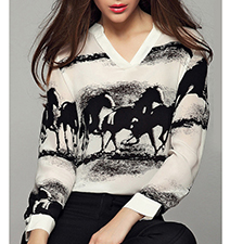 Womens Casual Blouse – Horse Theme / Black and White