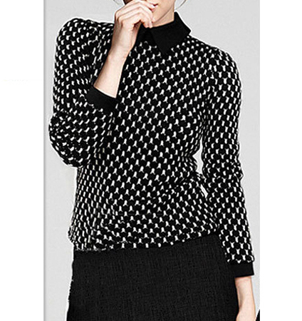 Womens Blouse – White Black / Polka Dots / Long Sleeves