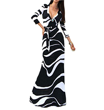 White Black Maxi Dress – Zebra Print / Low V Neck Cut