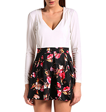 Long Sleeve Skater Dress – Two Toned White and Floral Cut / Long Sleeves