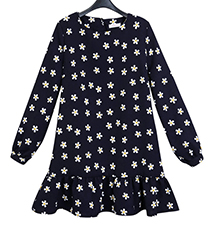 Star Printed Short Dress – Short Length / Long Sleeves