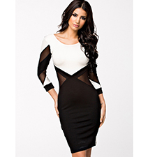 White Black Dress – Mid Length / Open Back / Fitted Skirt