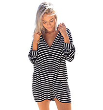 Horizontal Striped Dress – Black and White / V Neck Cut