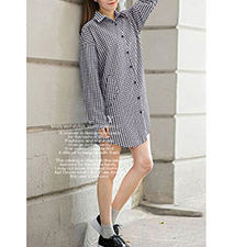 Three Quarter Length Shirt Dress – Black And White Checked