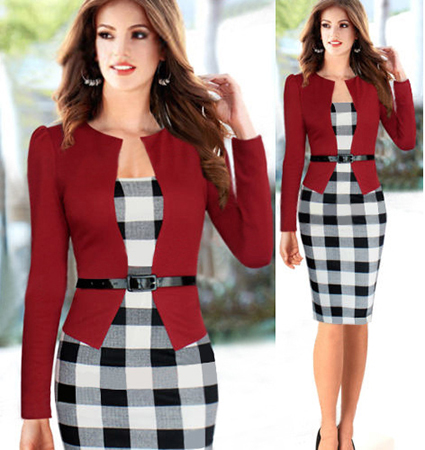 Black and White Checked Pencil Dress – Low Cut Chest Line / Jacket Feature