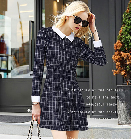 Black White Checked Skater Dress – White Shirt Collar / White Cuffs