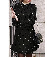 Black White Polka Dot Sweater Dress – High Polo neck / Flared Skirt / Mermaid Style