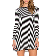 Long Sleeved Mini Dress – Horizontal Stripes / Black and White