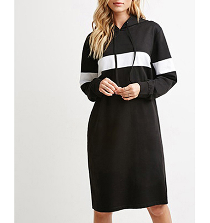 Collegiate Style Midi Dress – Black / White Trim